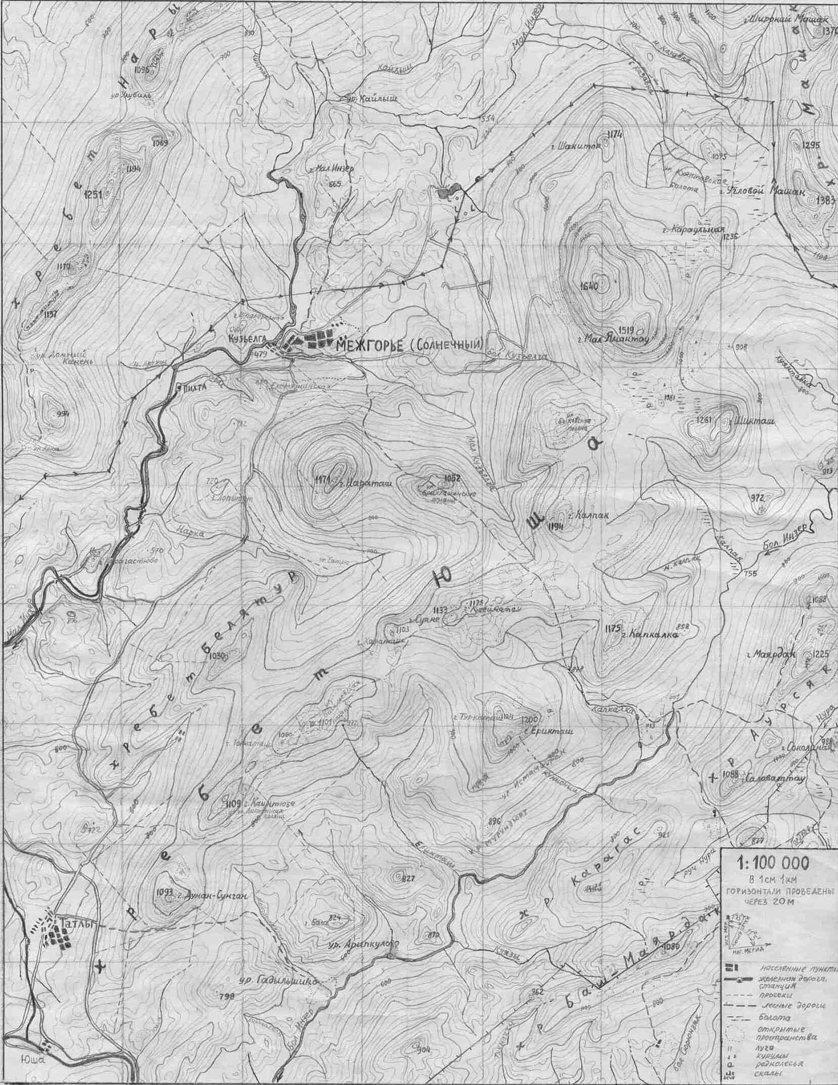 Хребет Юша, массив Ямантау и близлежащие горы.